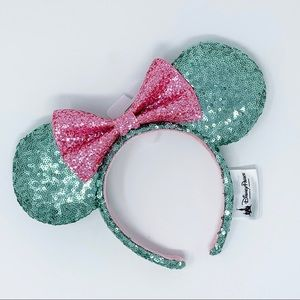 DISNEY PARKS Sequin Minnie Ears Headband Mint Pink